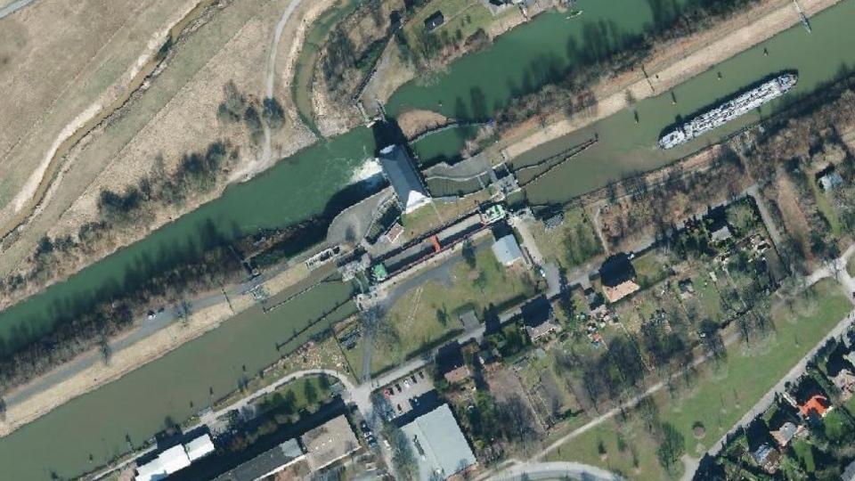 Die Wasserverteilungsanlage in Hamm steuert die Wasserregulierung zwischen Lippe (nördlich) und Datteln-Hamm-Kanal (südlich)