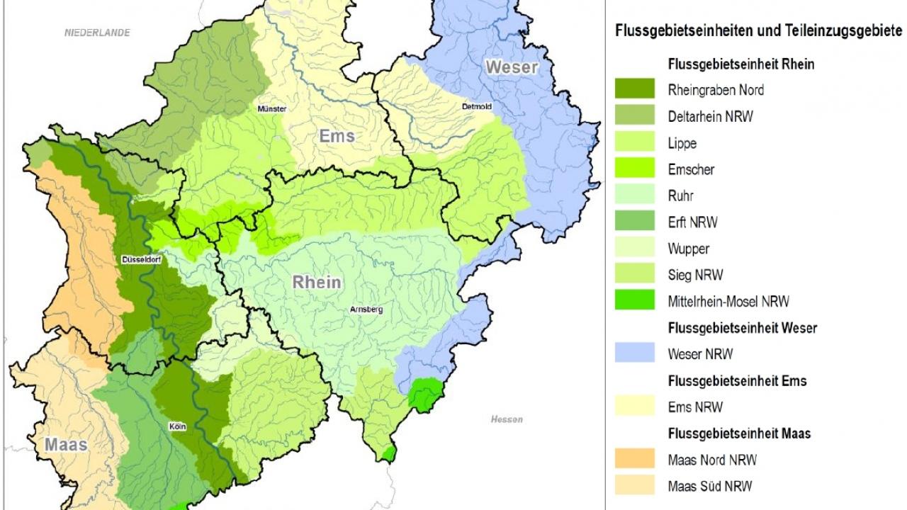 Flussgebietseinheiten und Teileinzugsgebiete NRW