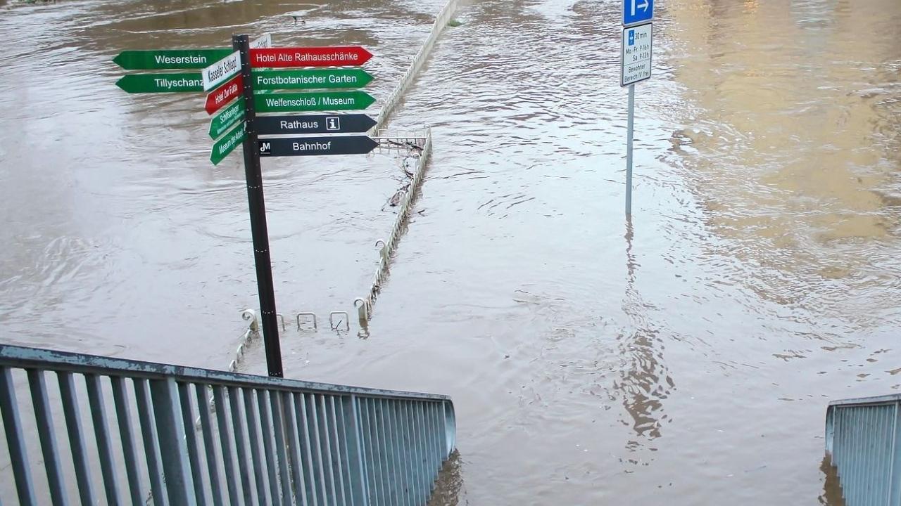 Während des Hochwassers