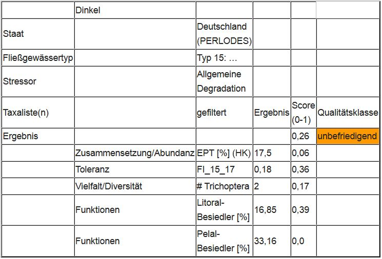 """Abbildung 5: Ergebnis des Moduls """"Allgemeine Degradation"""" an der Dinkel"""