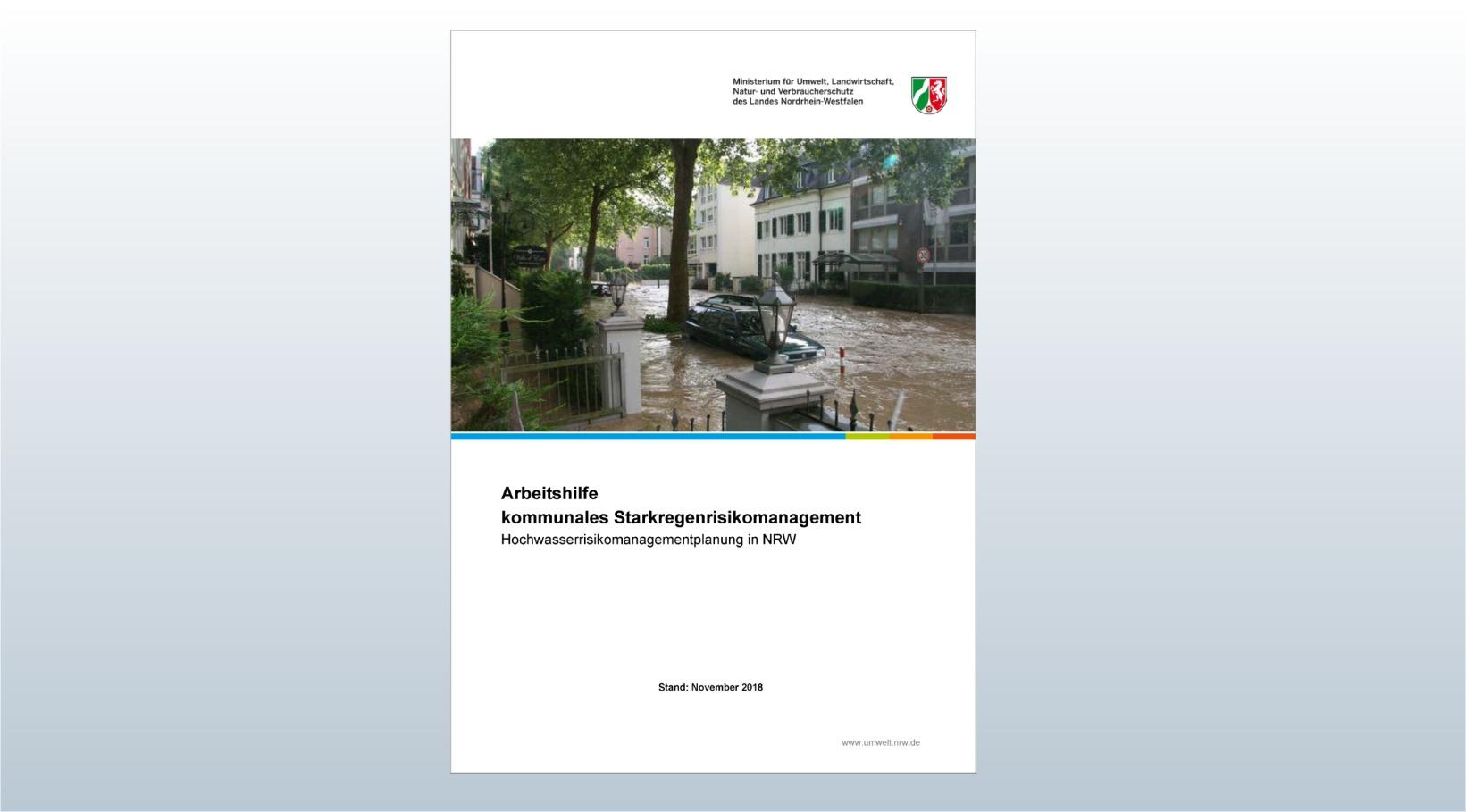 Titelseite Arbeitshilfe kommunales Starkregenrisikomanagement