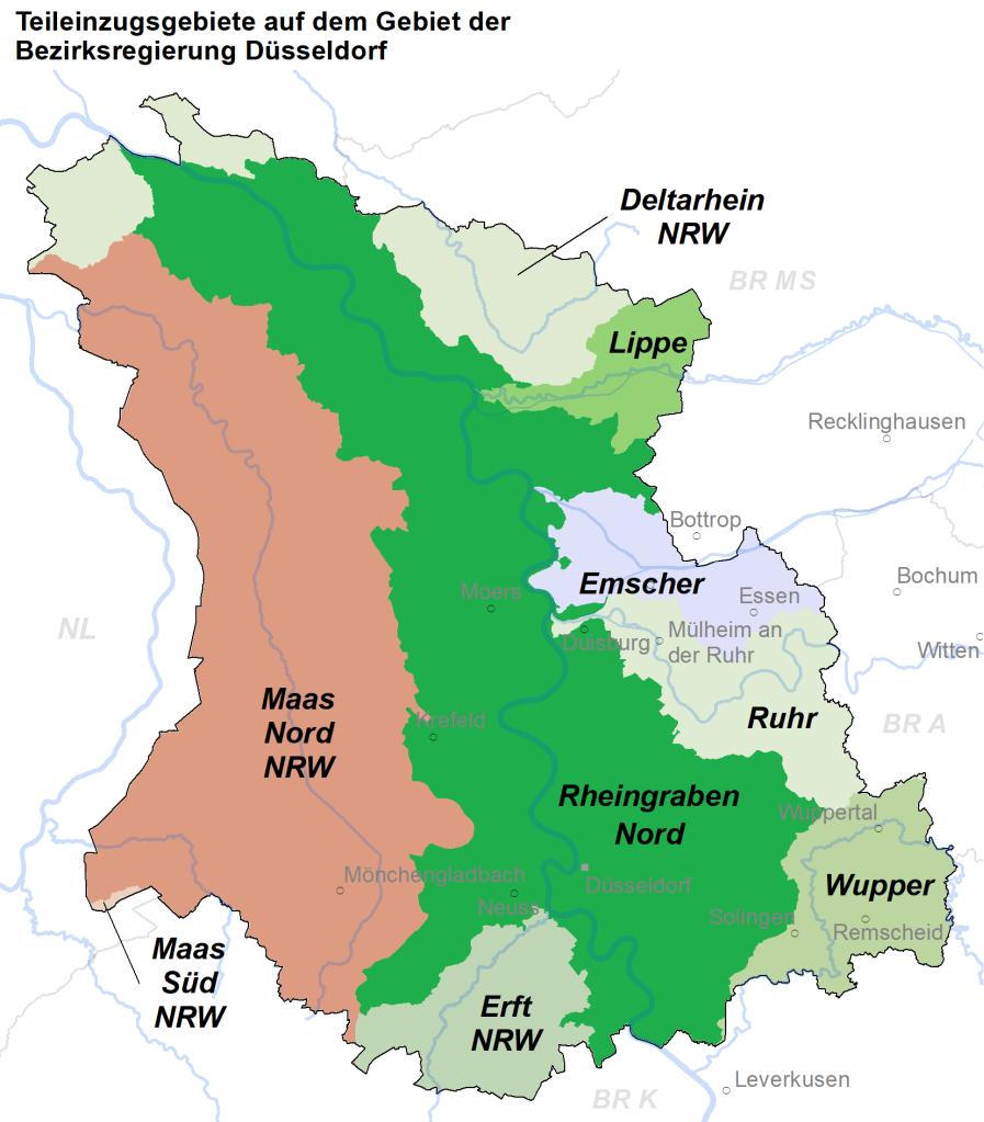 Teileinzugsgebiete im Bereich der Bezirksregierung Düsseldorf