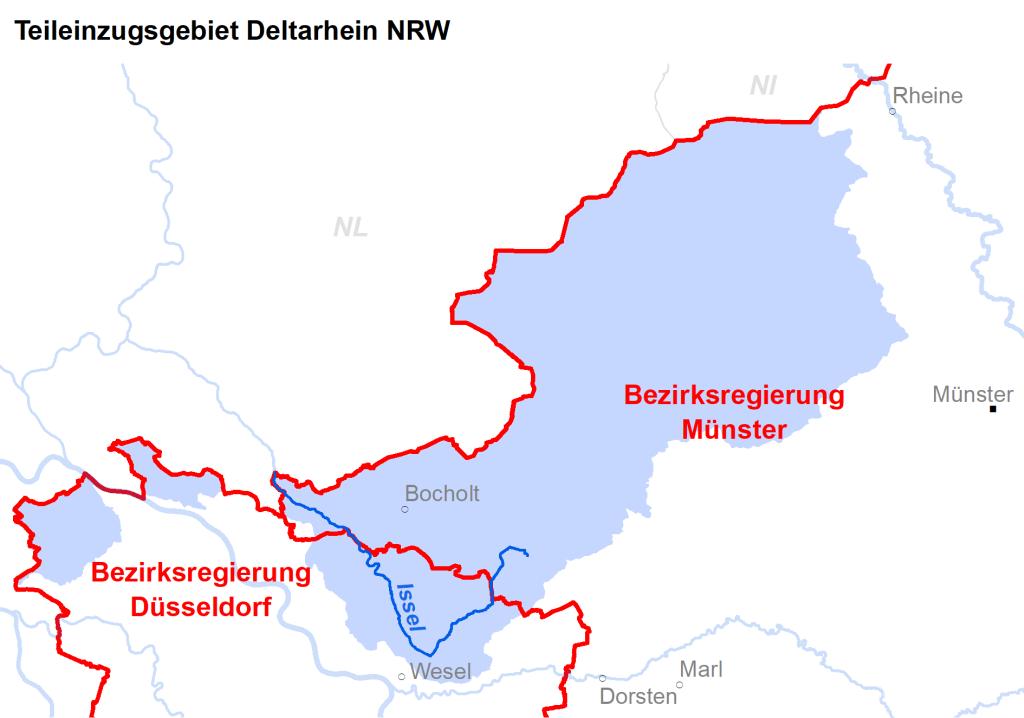 Zuständigkeiten im Teileinzugsgebiet Deltarhein NRW