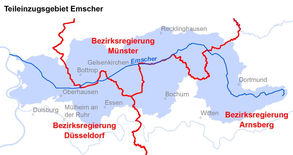 Zuständigkeiten im Teileinzugsgebiet Emscher