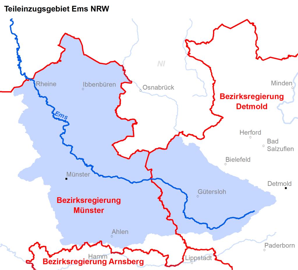 Zuständigkeiten im Teileinzugsgebiet Ems NRW