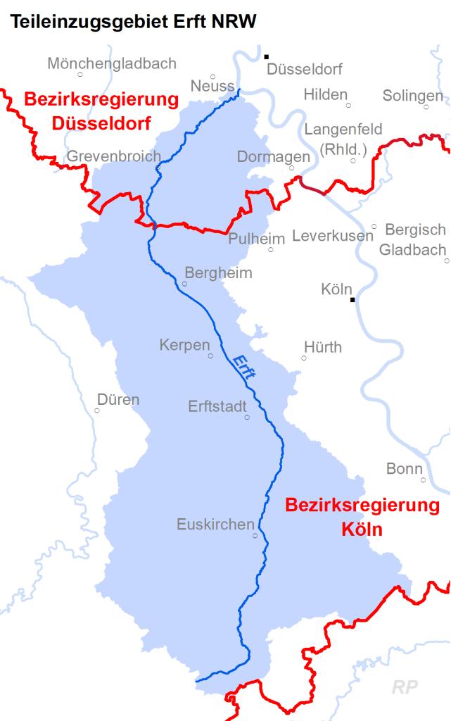 Zuständigkeiten im Teileinzugsgebiet Erft NRW