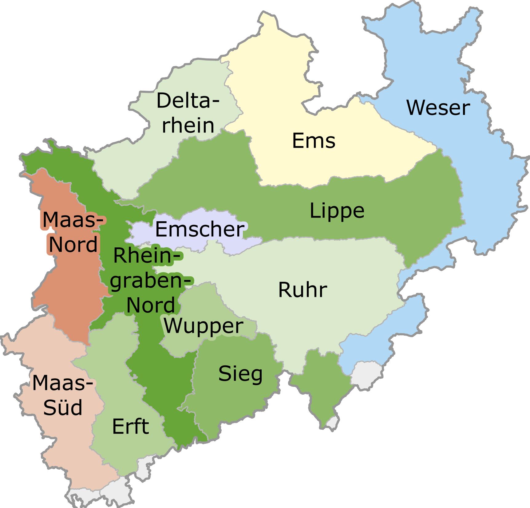 Teileinzugsgebiete NRW