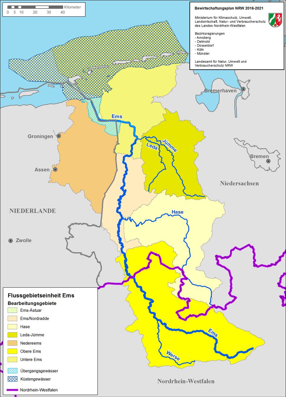 Karte der Flussgebietseinheit Ems
