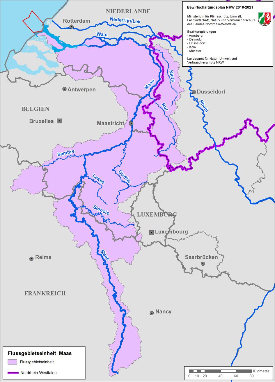 Karte der Flussgebietseinheit Maas