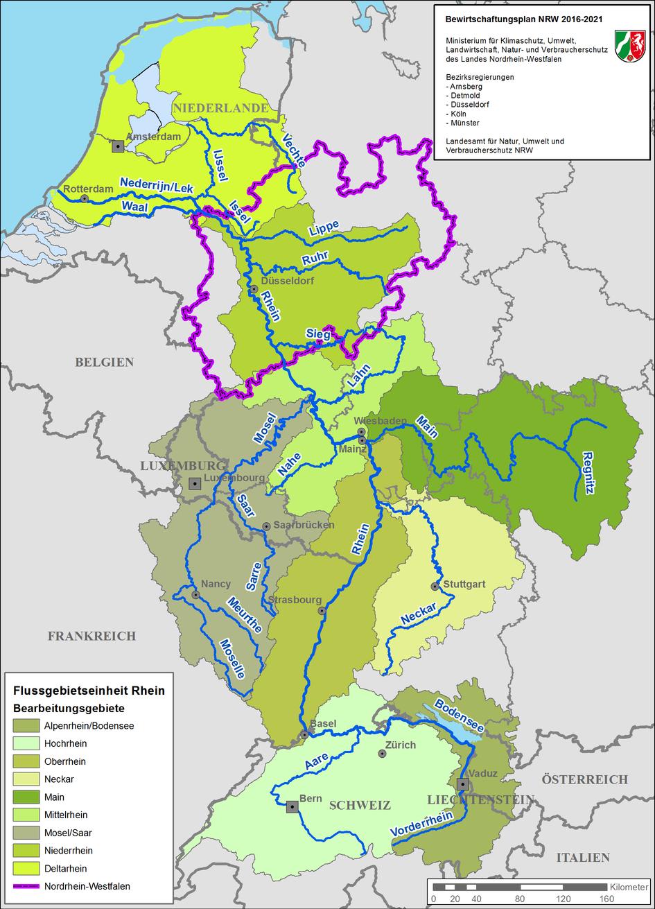 Karte der Bearbeitungsgebiete in der Flussgebietseinheit Rhein