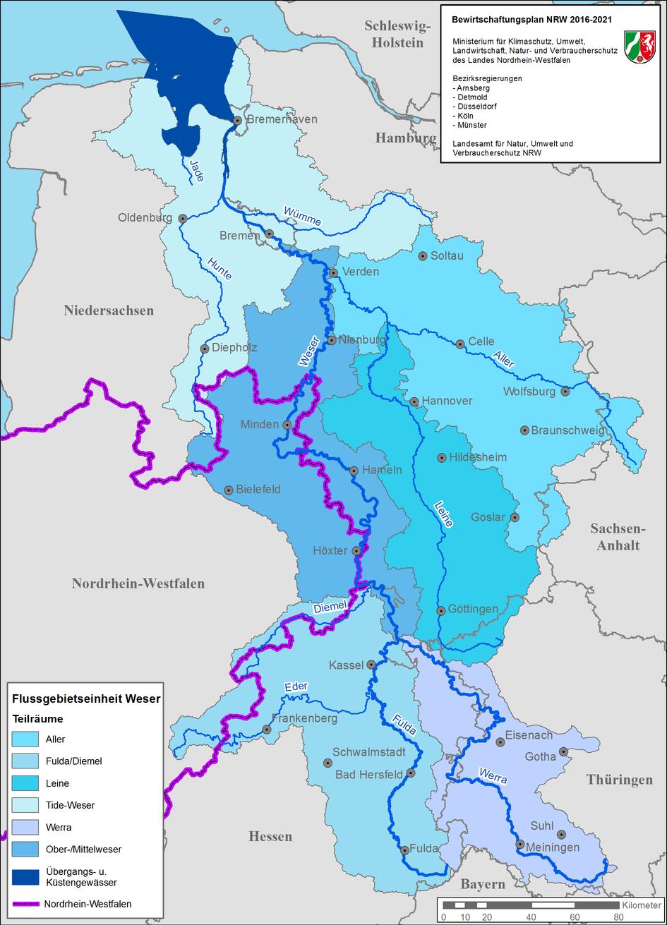Karte der Bearbeitungsgebiete in der Flussgebietseinheit Weser
