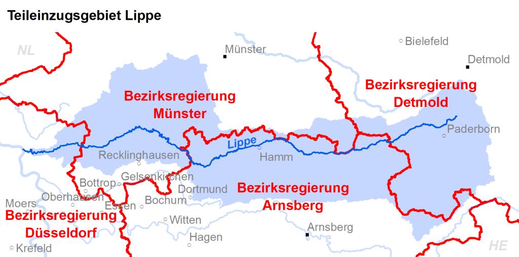 Zuständigkeiten im Teileinzugsgebiet Lippe