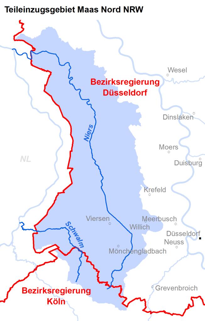 Zuständigkeiten im Teileinzugsgebiet Maas Nord NRW