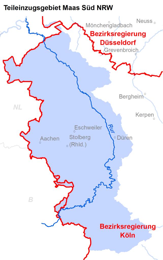 Zuständigkeiten im Teileinzugsgebiet Maas Süd NRW