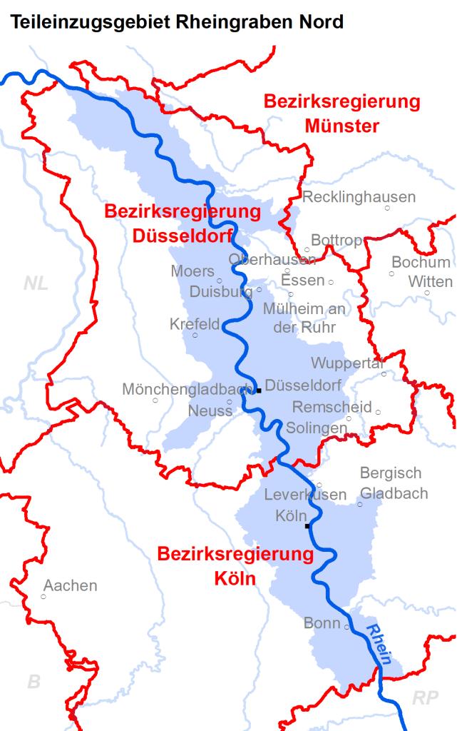 Zuständigkeiten im Teileinzugsgebiet Rheingraben Nord