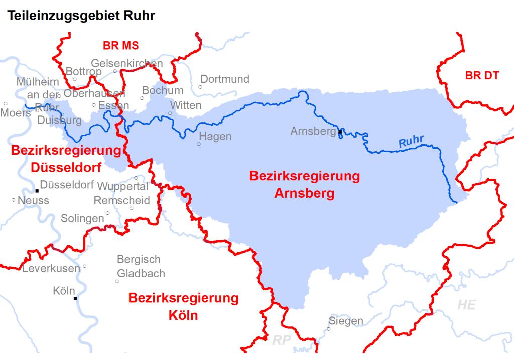 Zuständigkeiten im Teileinzugsgebiet Ruhr