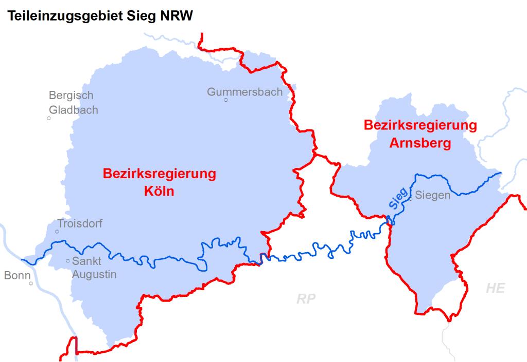 Zuständigkeiten im Teileinzugsgebiet Sieg NRW