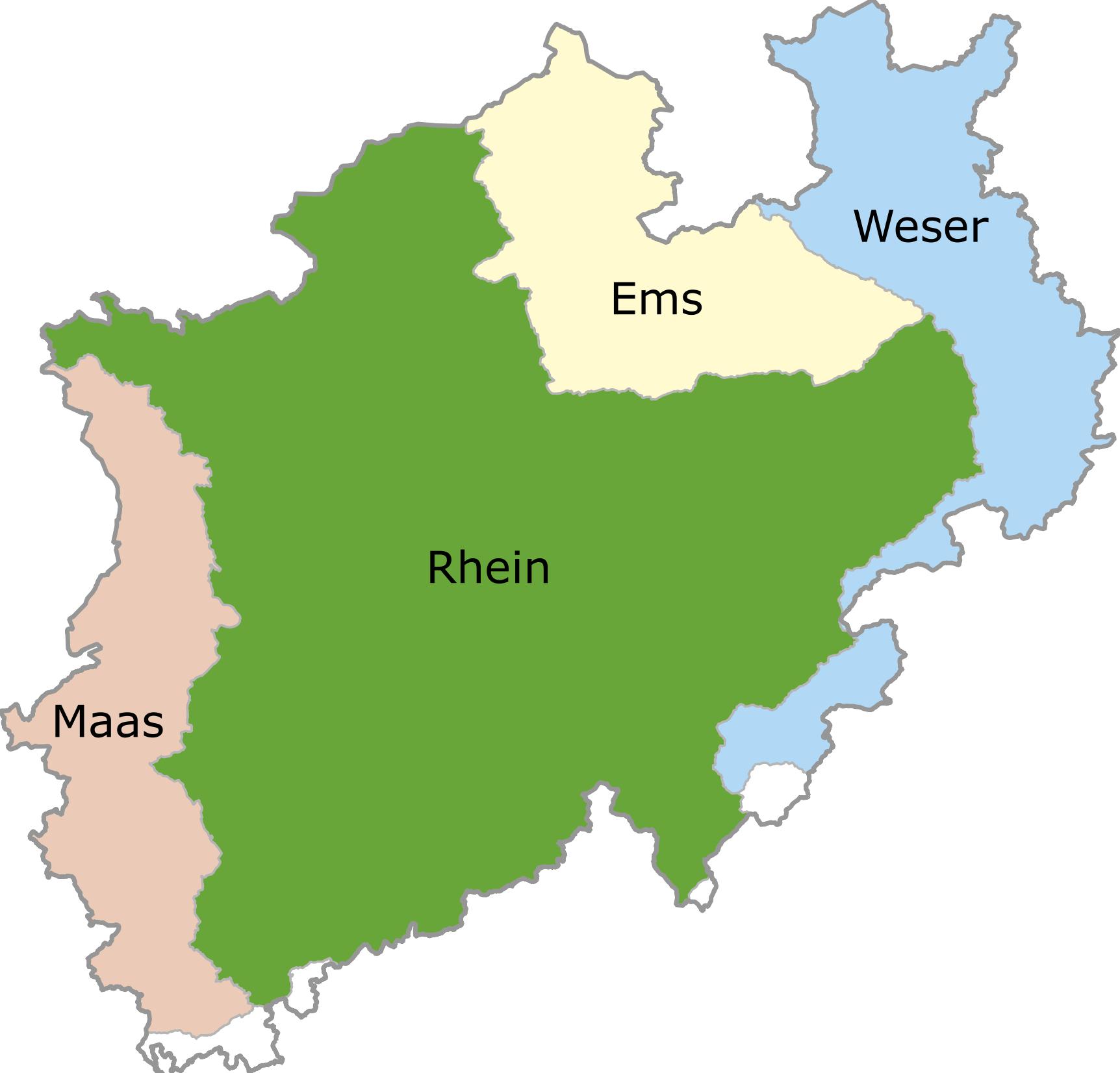 Flusseinzugsgebiete NRW