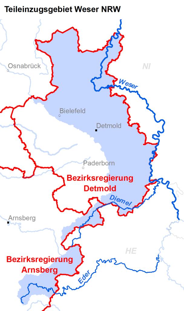 Zuständigkeiten im Teileinzugsgebiet Weser NRW