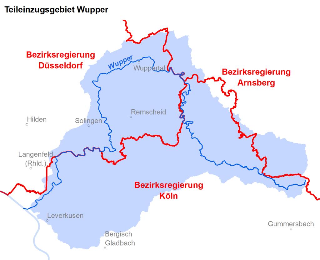 Zuständigkeiten im Teileinzugsgebiet Wupper